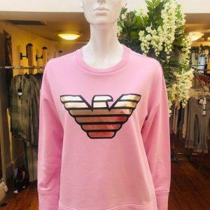 Pink Sweatshirt with Gold Branding