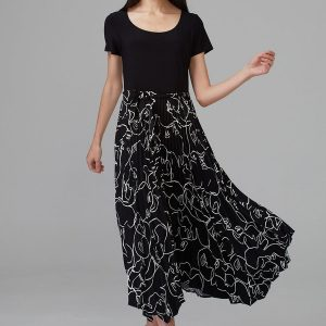Black/White pleated hem dress 201107
