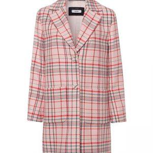 Pink Coral Check Coat