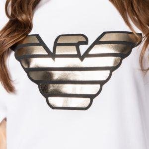 White Sweatshirt with Gold Branding
