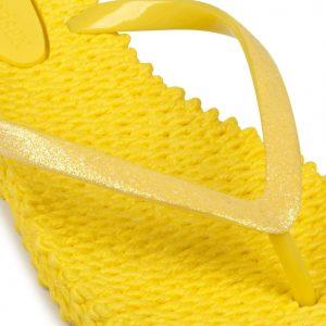 Yellow Glitter Flip Flops