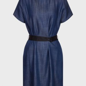 Denim Dress with Logo Belt