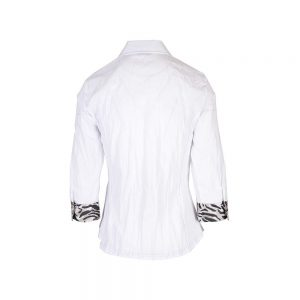JUST WHITE - Crinkle Blouse with Animal Print