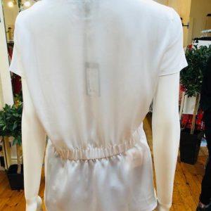 Satin peplum sweater white