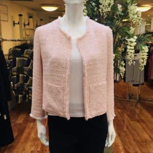 Pink Frayed-edged Boucle Jacket
