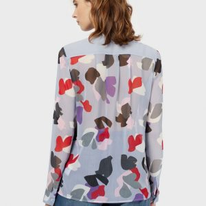 Chiffon blouse with a floral motif and bow