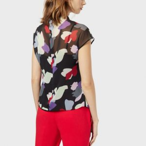 Chiffon blouse with draping and floral motif