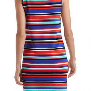 Knitted dress with multicoloured stripes