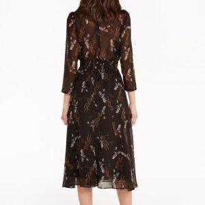 Midi Dress with Transparent Intarsia