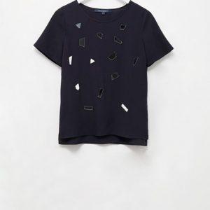 Elexis Crepe Mirror Short Sleeve Top