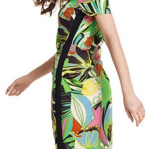 Brazil Print Dress with Gathering