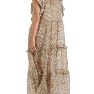 Leopard Print Silk Maxi Dress