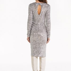 Silver Sequin Midi Dress