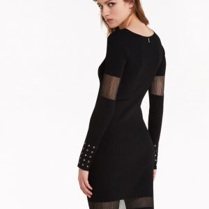 Sheer Detail Knit Dress