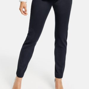 Navy Slim Fit Cropped Trousers