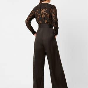 Lace Satin Belted Jumpsuit