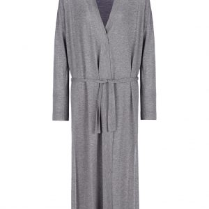 Long Grey Belted Cardigan
