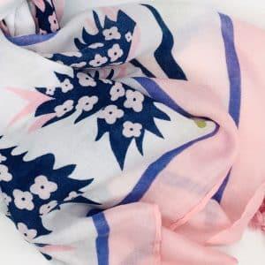 Pale Pink Floral Tassel Scarf