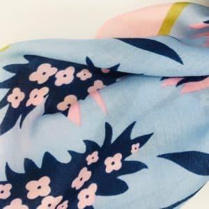Blue Floral Tassel Scarf