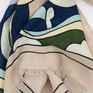 Beige Abstract Print Scarf