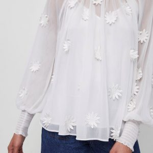 White Aziza Lace Floral Top