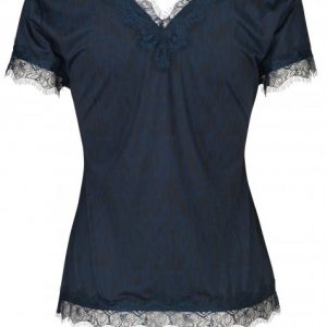 Blue Sketch Lace V-neck T-shirt