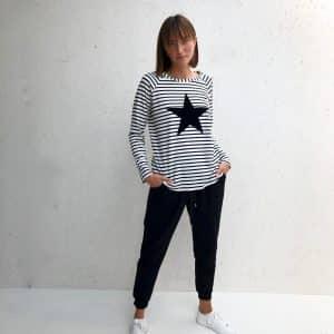 Tasha Black Star Striped Top