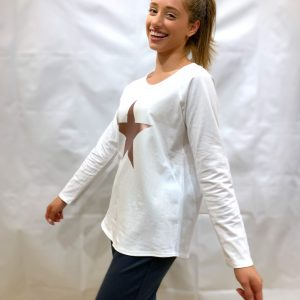 Tasha White Rose Star Top