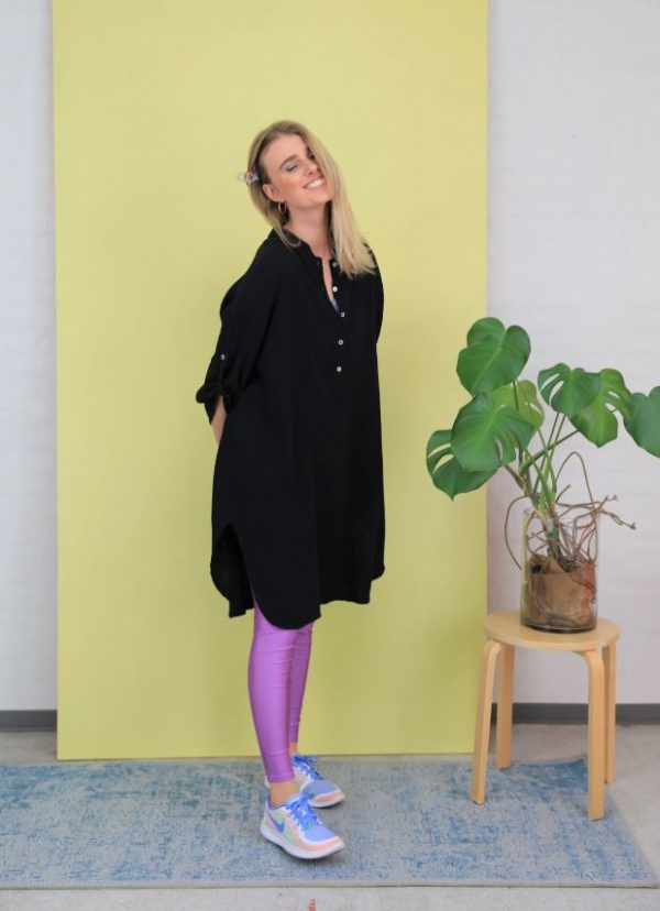 black, cotton, shirt, long sleeves, over sized