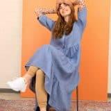 linen, maxi dress, sleeves, blue, frill, flounced, maxi dress
