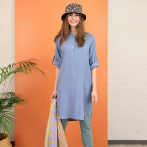 long shirt, blue, button, rolled sleeves, cotton