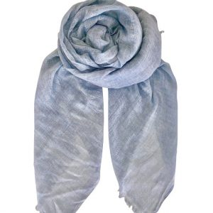 scarf, linen blend, blue, frayed edges