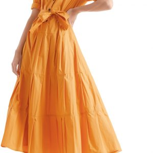 orange maxi dress, marc cain, belted dress, pleated, 3/4 sleeves
