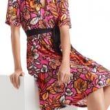 marc cain, floral dress, pink midi dress,
