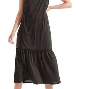 black, maxi dress, sleeveless, flounced skirt, cotton