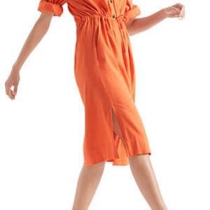 marc cain, dress, midi length, orange dress, shirt style, rolled sleeves, drawstring