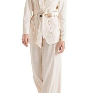 cream, blazer, belt, long sleeve, button, cashew colour, jersey blazer
