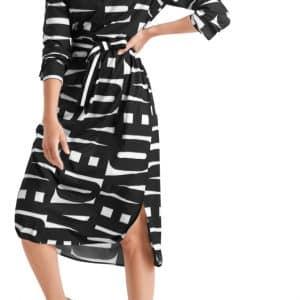 midi dress, graphic print, belt, marc cain,