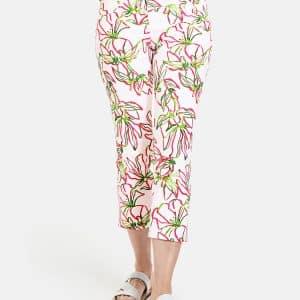 Floral Print White Jean