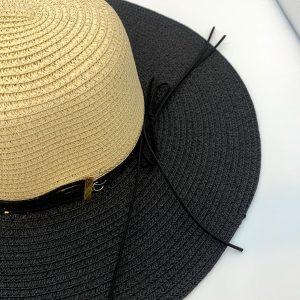 Black & Cream Woven Sun Hat