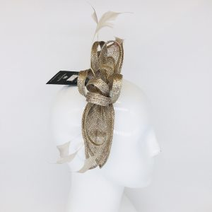 Gold-Silver Feather & Ribbon Fascinator