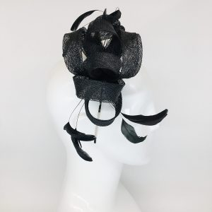 Black Curled Ribbon & Feather Fascinator