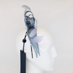 Air Blue Feather & Ribbon Fascinator
