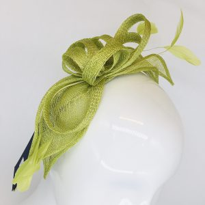 Lime Feather & Ribbon Fascinator