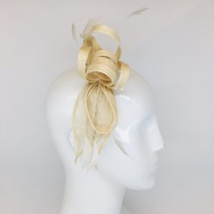 Ivory Curled Ribbon & Feather Fascinator