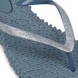 Lichen Blue Glitter Flip Flops
