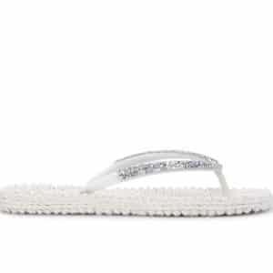 Cream Gem Detail Flip Flops