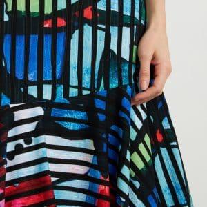 Multi-colour Striped Dress Style 211009