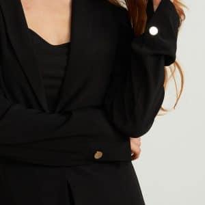 Black One Button Blazer Style 211328