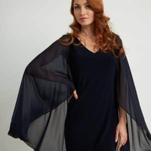 Midnight Blue Sheer Cape Dress Style 211341